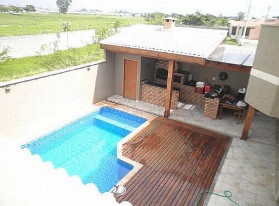 Decora o de rea externa com churrasqueira e piscina for Piscina 7 de agosto
