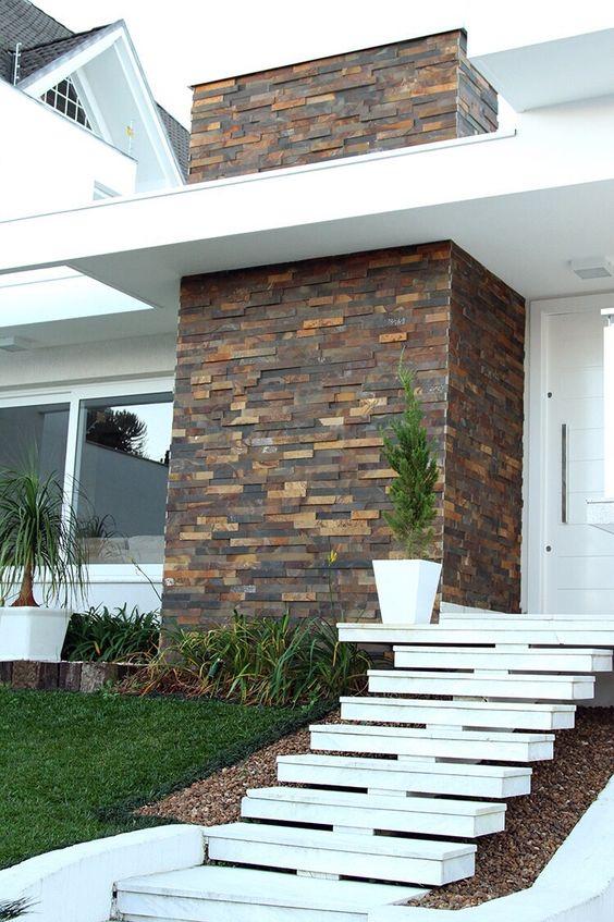 Decora o de fachadas de casas com pedras fotoss decor for Fachadas de casas con azulejo