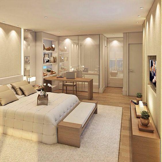 Decora o de quarto de casal com closet e banheiro fotos for Mobilia quarto casal custojusto