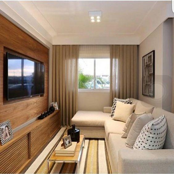 Decora o de salas pequenas e estreitas modelos fotoss for Modelos salas para departamentos pequenos
