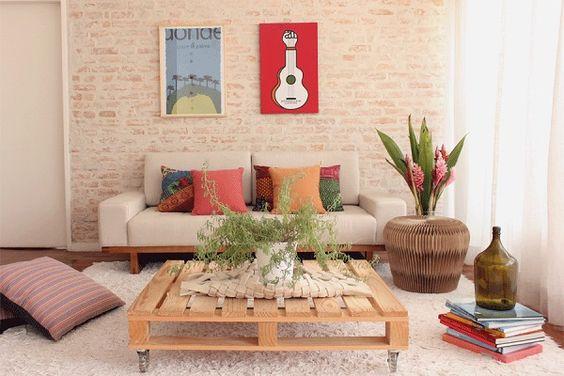 Ideias de Decoraç u00e3o de Salas Simples e Baratas Fotos # Decoração De Interiores Salas Simples