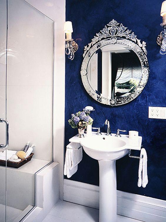 Banheiro Decorado em Azul e Branco: Modelos
