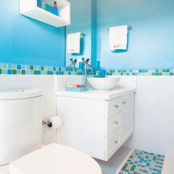 Fotos de Banheiro Azul e Branco