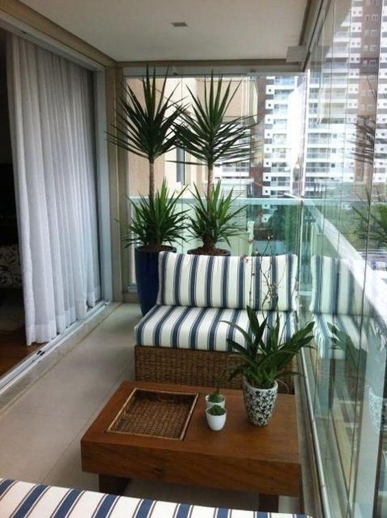 Decoraç u00e3o de Varandas Pequenas com Plantas FotosSó Decor # Decoração Para Varanda De Apartamento Simples