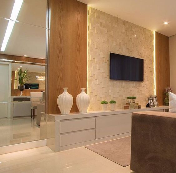 Ideias para decora o de salas com papel de paredes decor for Sala de estar com papel de parede 3d