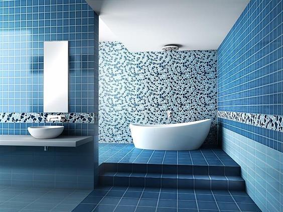 pisos de banheiros branco com azul