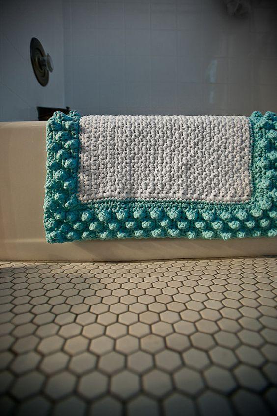 Tapetes de Barbante de Crochê para Banheiro e Sala