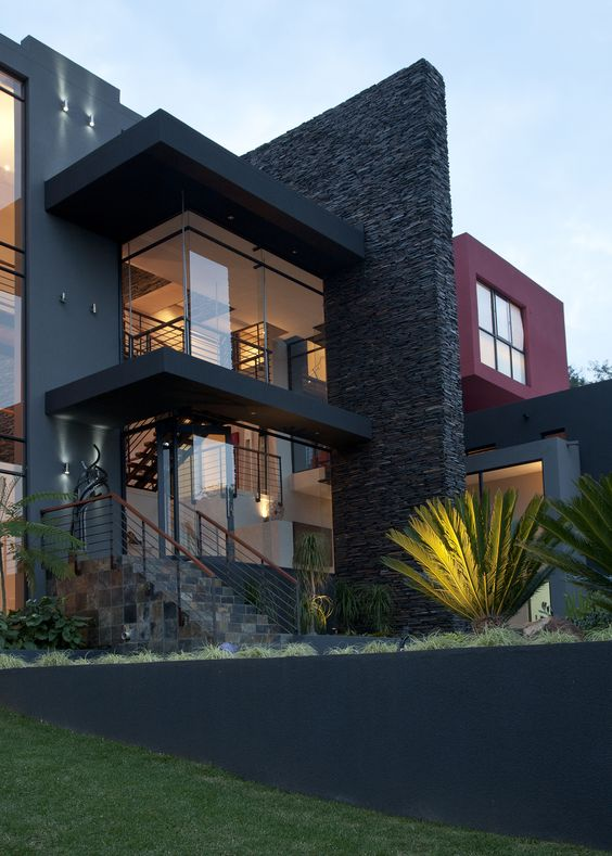 Fachadas de casas simples com cer mica modelos fotoss decor for Casas modernas revestidas en piedra