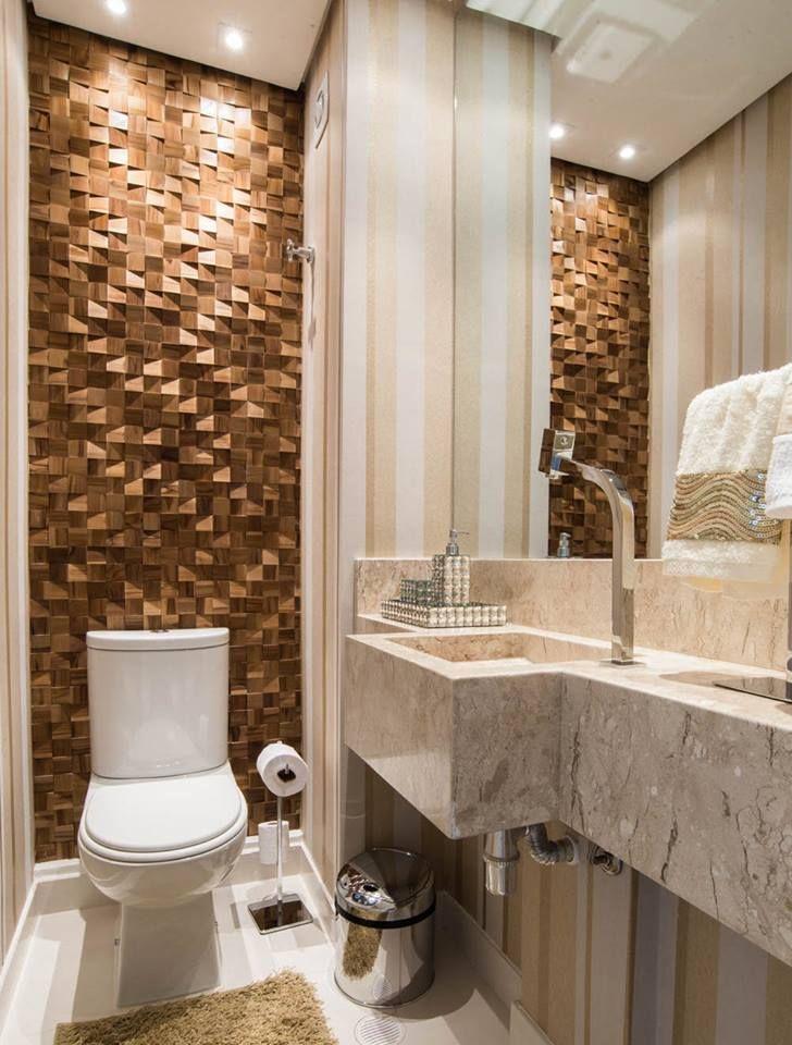 ideia de decoração de banheiro social pequeno