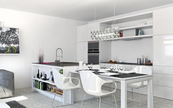 cozinha integrada branca e preta