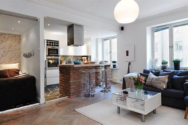 cozinha integrada com tijolinhos