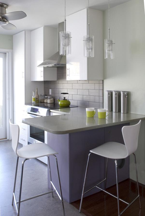 cozinha integrada com balcão curto