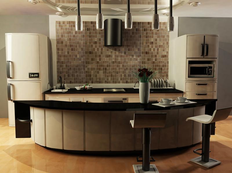 cozinha com azulejos pequenos