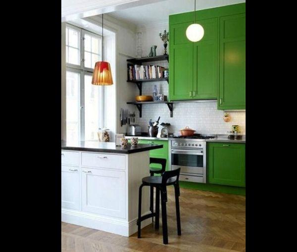 cozinha integrada verde escuro