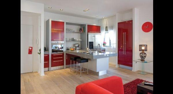cozinha integrada vermelha