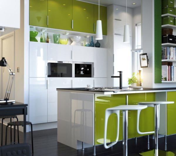 cozinha integrada verde