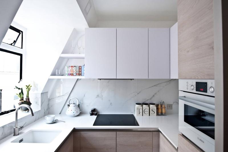 cozinha com mármore branco