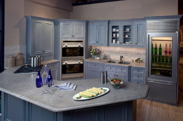 cozinha integrada azul