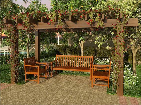 jardim com pergolado de madeira