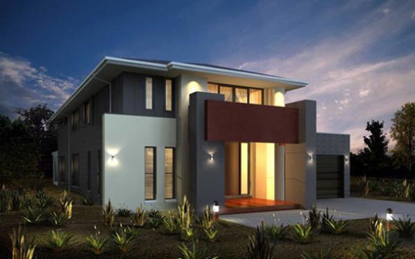 fachada de casa com linhas verticais