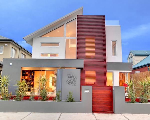 fachada de casa vermelha