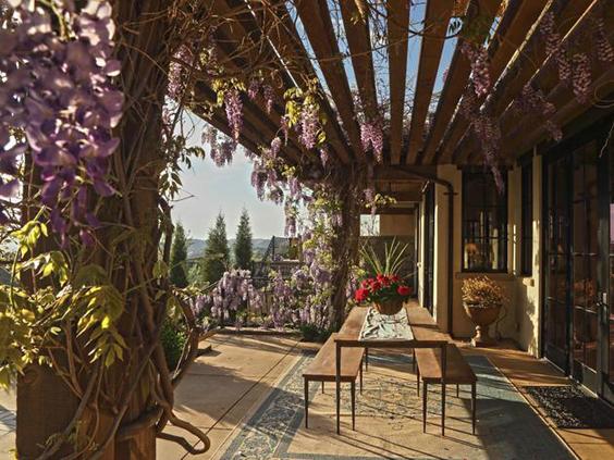 pergola de madeira com plantas floridas