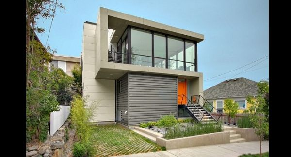 fachada de casa com cimento