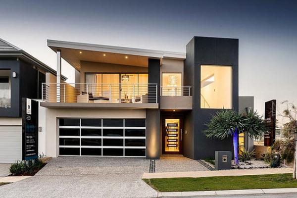 fachada de casa preta e branca