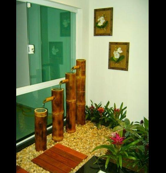 jardim interno com bambu