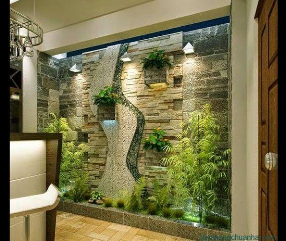 jardim interno com vazado na parede