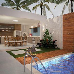 espaço do churrasco com piscina iluminada