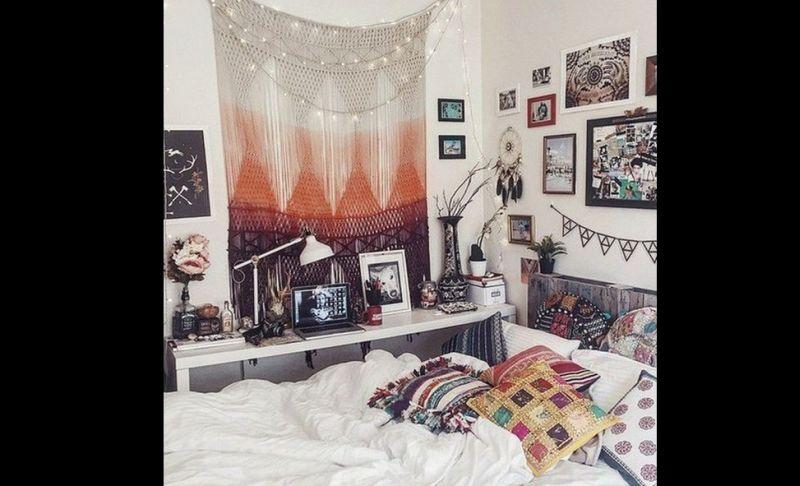 quarto com estilo hippie com macrame