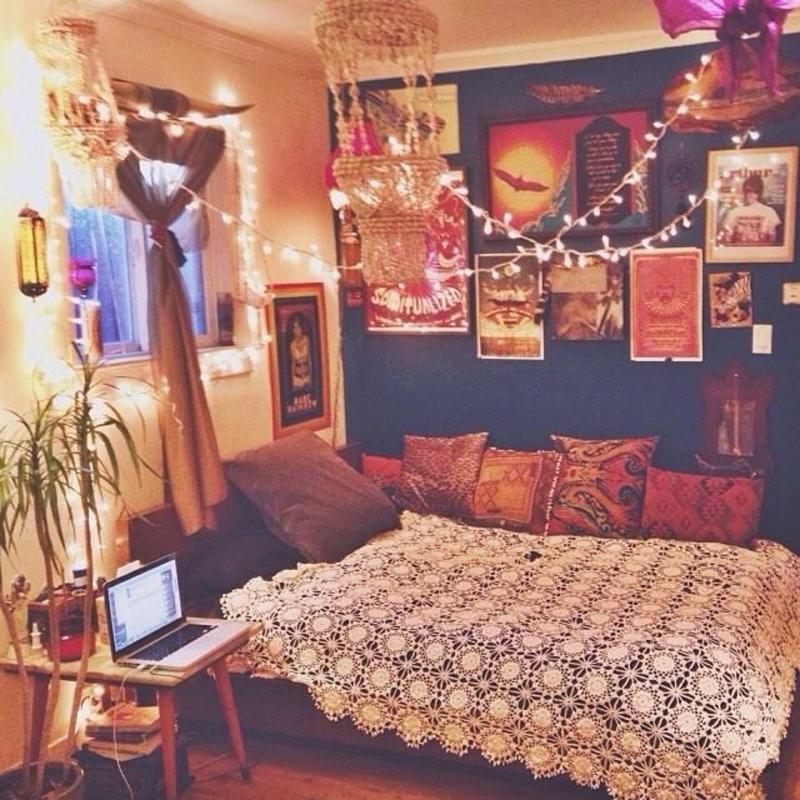 quarto com estilo hippie com croche