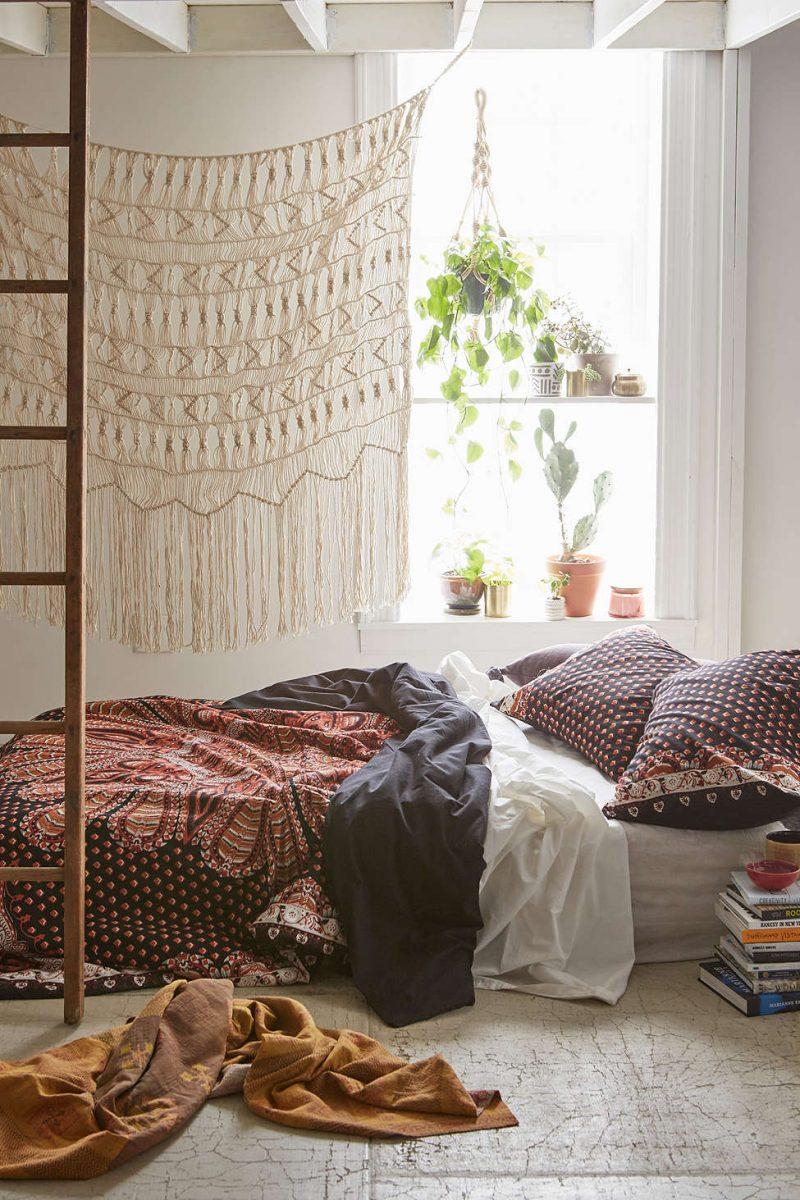 quarto com estilo hippie com renda