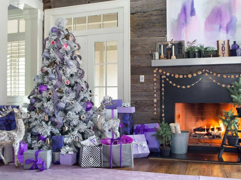 decoração natalina roxa