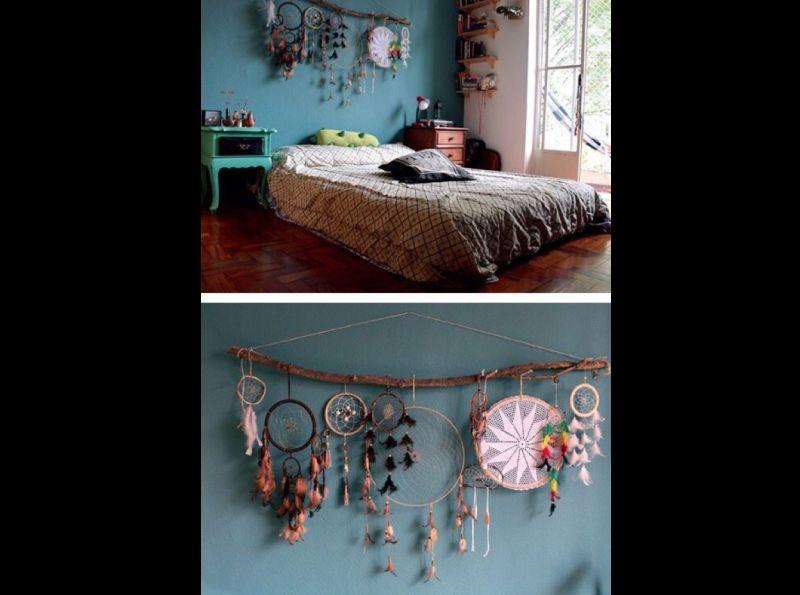 quarto com estilo hippie com enfeites