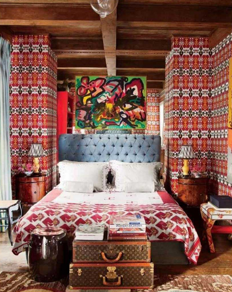 quarto com estilo hippie com quadro