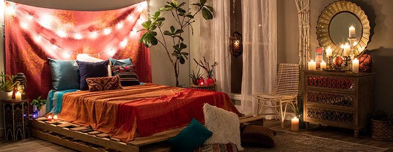 quarto com estilo hippie laranja