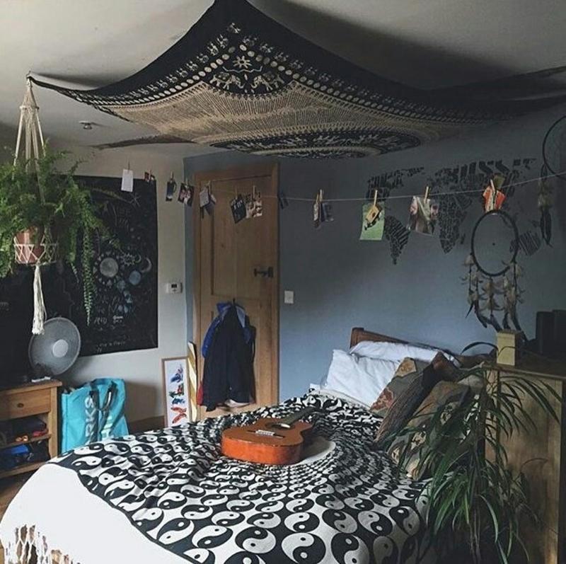 quarto com estilo hippie sobrio