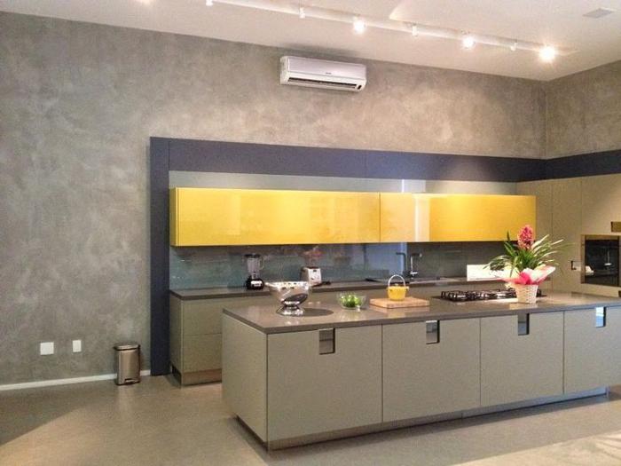 cozinha parede com concreto aparente