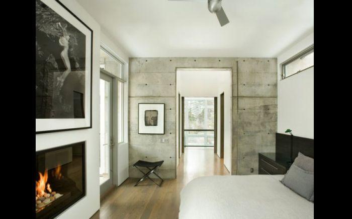 quarto parede com concreto aparente