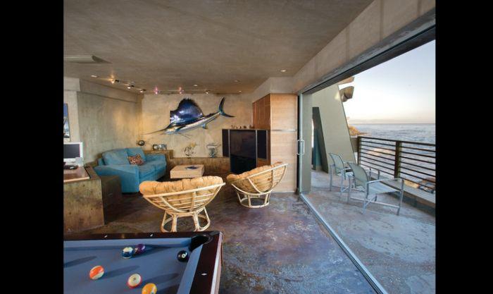 apartamento moderno com parede com concreto aparente