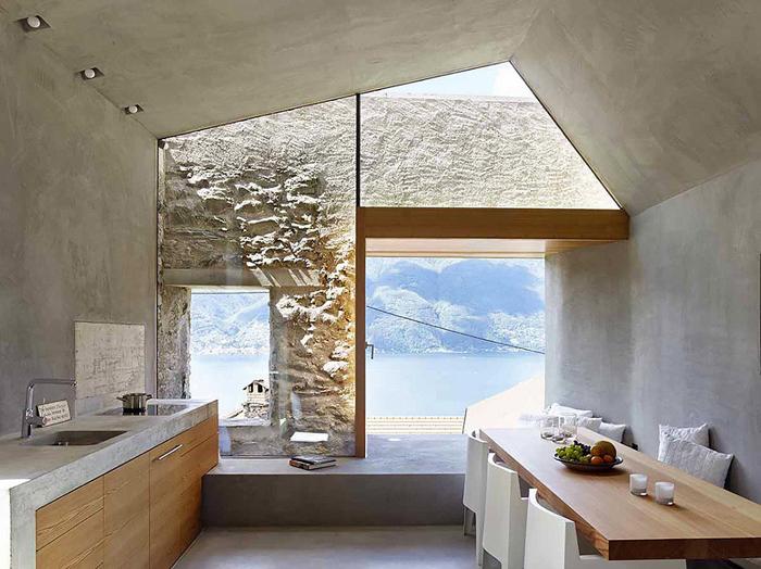 cozinha moderna parede com concreto aparente