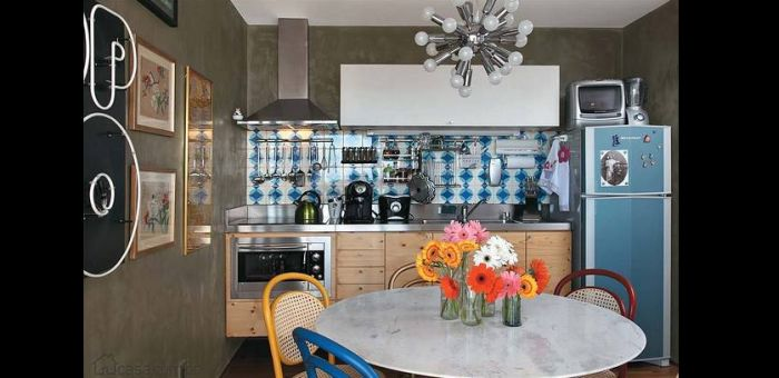 parede com concreto aparente na cozinha retro