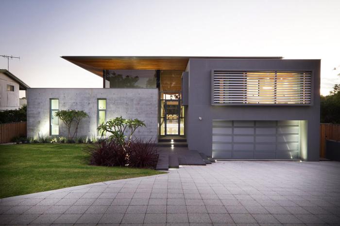 fachada com concreto aparente