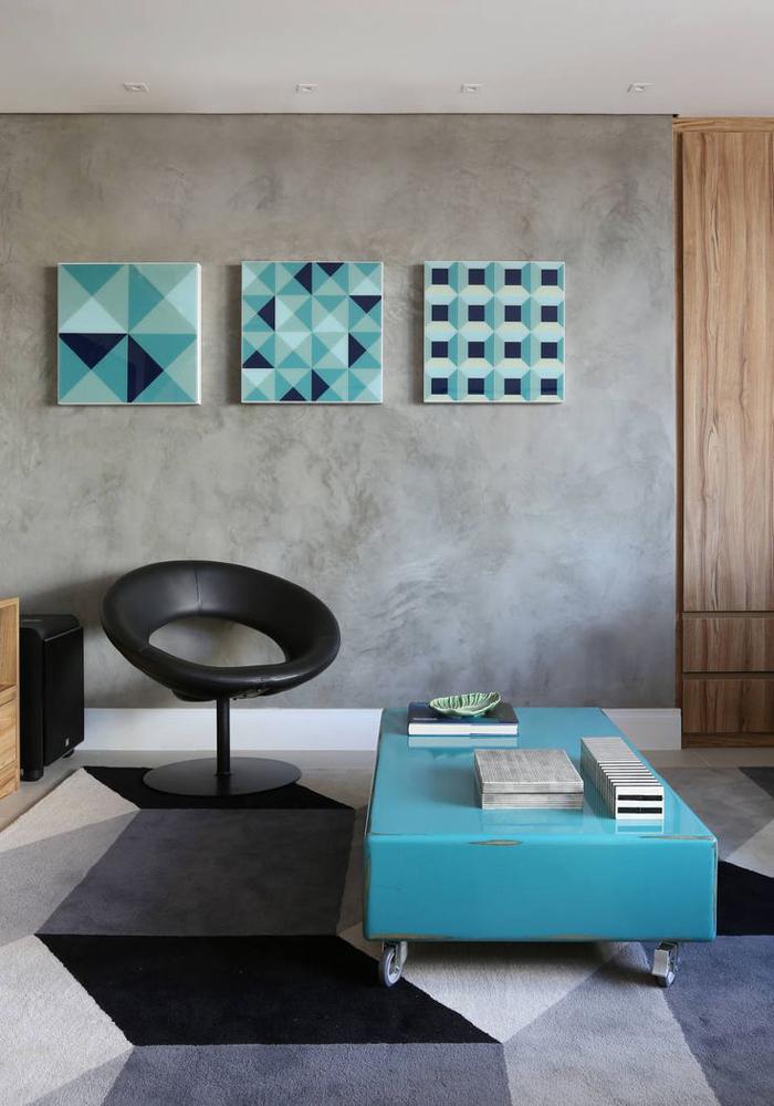 geometria e parede com concreto aparente