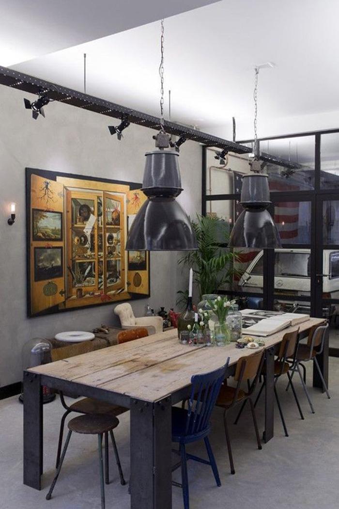 parede com concreto aparente decoração industrial