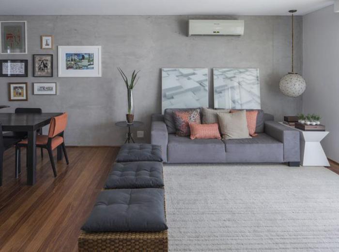 salas parede com concreto aparente