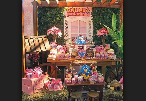 festa da Galinha Pintadinha rosa