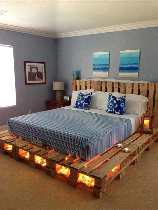 Artesanato em madeira cama com luz